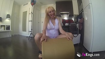Blonde pregnant Russian Milf desperately needs money, What about this big cock?