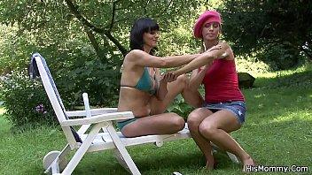 Busty lesbian mom fucks blonde girl with dildo