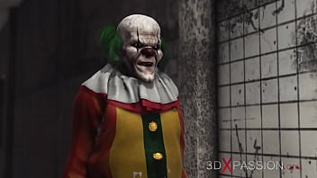 3dxpassion.com. Evil clown fucks a sweet schoolgirl in an abandoned hospital
