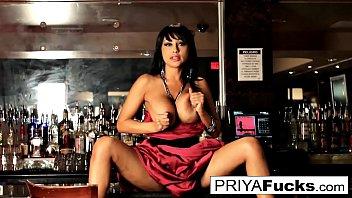 Priya Rai has some fun on top of the bar!