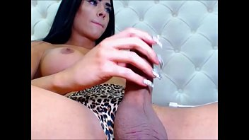 Transsexual blue Stunning tranny with blue eyes cumming hard on cam