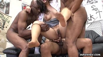Cock fuck japan - Three black men destroy the asian sluts pussy