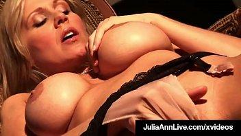 Busty Cougar Julia Ann Finger Fucks Herself In Foxy Fishnets