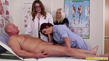Shower nurse handjob Cock hungry nurse babes share blowjob