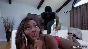 Ebony GF fucks the hung intruder - Osa Lovely
