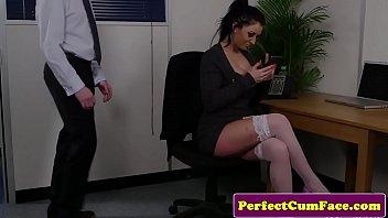 Boob job uk Busty british office babe spunked on after hj