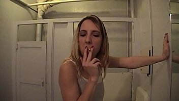 Marie Madison Smoking Blowjob in Mens Room