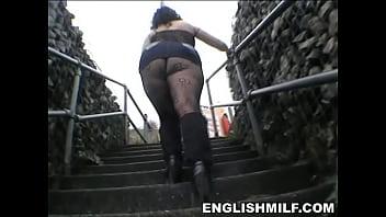 Big butt English milf in bodystocking public ass
