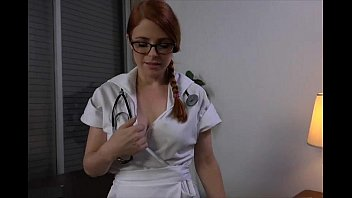 Sexy redheaded nurse gives awesome handjob