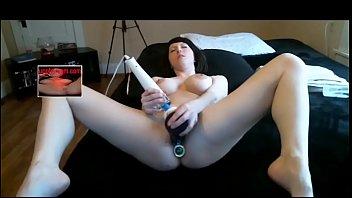 Babe fucking herself with big dildo