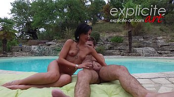 Hot French brunette Amel Annoga threesome