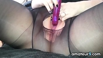 BBW In Pantyhose Masturbates With A Vibrator
