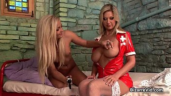 Nasty blond bitch gets cunt inspected