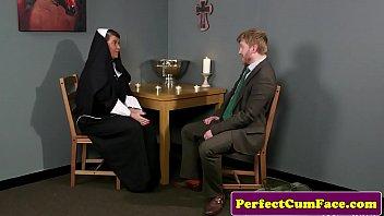 Busty chubby nun gets cum blasted