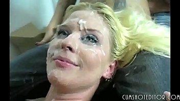 MILF Blonde Whore Covered In Cum