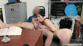Brunette babe Natana Brooke slobbing the officers rod and making him cum in her mouth after a hot pussy fucked