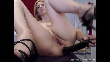 Blonde MILF toys her ass on webcam