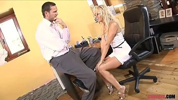 High definiition porn - Blonde milf in high heels rides dude the sofa porn