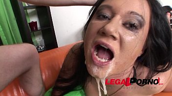 Extra trashy babe Oxana gagging blowjob with crazy drooling and swallow