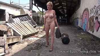 Nude blonde stripping - Mature lady sonia strips completely nude outdoors