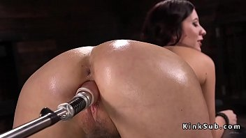 Natural big tits brunette fucking machine