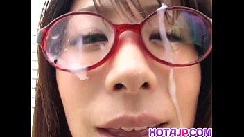 Mimi Kousaka with specs licks hard penis