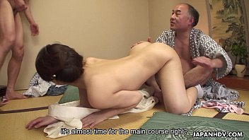 Juicy pussy Asian babe getting plowed in a hot threesome