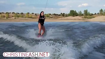 christineash.net   Sexy Big-Titted MILF Waterskiing