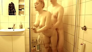 Hot sex in the shower with a busty teen