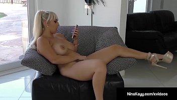 Nympho Nina Kayy Dildo Bangs Pussy While Sexting Horny Guy!
