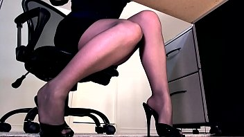 Ignored by her sheer black pantyhose feet and high heels