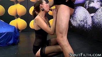 Fetish slut swallows cum
