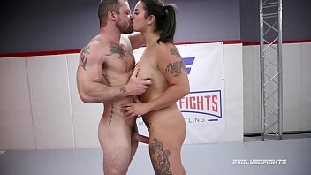 Miss Demeanor vs Sgt Miles in mixed nude wrestling fight choking on his cock
