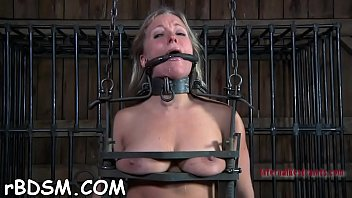 Beauty is fastened upside down with her cunt thrashed
