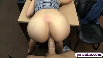 Hot brunette babe gets her pussy banged by pawn dude
