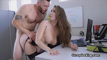 Competition for busty bosses pussy at the office