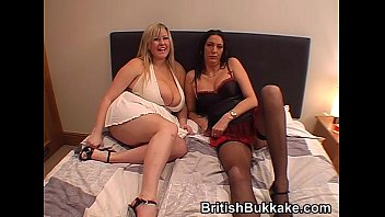 Massive boobed woman and mature take facials