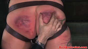 Scarred bdsm sub paddled by her maledom