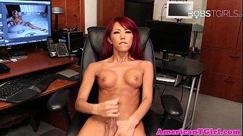Gorgeous ladyboy pleasures herself with wank