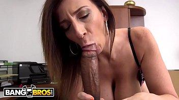 BANGBROS - Busty MILF Sara Jay Sucks A Big Black Cock Like The Professional She Is