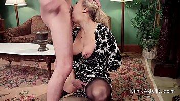 Busty Milf blondes banged in bondage threesome