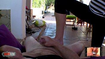 Hot french MILF in leggings doing foot job thumbnail