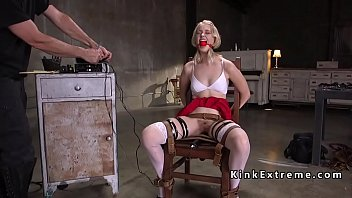 Gagged blonde gets electricity training