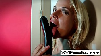 Hot Blonde MILF Sarah works her wet pussy with a toy