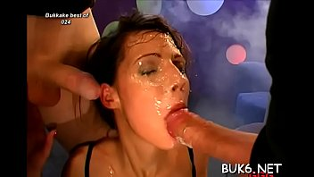Forced blow job clips - Cute maid is forced to entertain several concupiscent male knobs