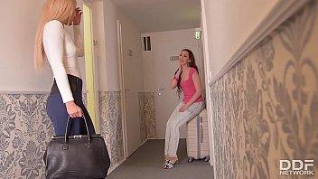 Euro lesbians Aisha & Leyla Bentho Fuck hard at...