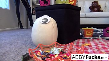 Pumpkin lingerie Abigail carves a pumpkin then plays with herself