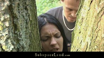 Cum demons - Hot brunette restrained in the woods and fucked