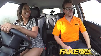 Fake driving school pretty black girl seduced by driving instructor porn image