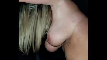 Backseat car sex in parking lot with big tit blonde